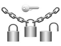 Padlocks set. Set of metal padlocks, chains and key Royalty Free Stock Image
