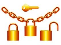 Padlocks set. Set of golden padlocks, chains and key Royalty Free Stock Image