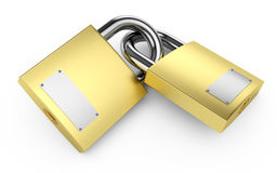 Padlocks. Two closed padlocks on a white 3d illustration Royalty Free Stock Image
