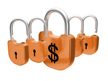 Padlocks - US dollar currency safety concept Stock Image