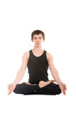 Padmasana with fingers in yogic gesture Chin Mudra Royalty Free Stock Image