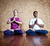Padmasana lotus posture Royalty Free Stock Photo