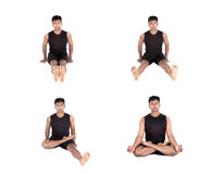 Padmasana step by step Stock Photos