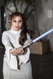 Padme Amidala con la spada laser Immagine Stock