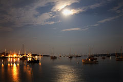 Padnaram Harbor Moon Royalty Free Stock Photography