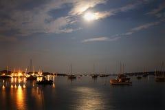 Padnaram Harbor Moon Royalty Free Stock Photography