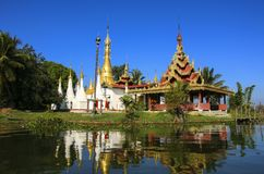 Padoga of Buddhist monastery on Inle lake, Shan state,Myanmar B Royalty Free Stock Photo
