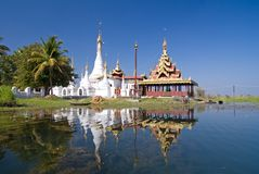 Padogas of Buddhist monastery -Inle lake royalty free stock photography