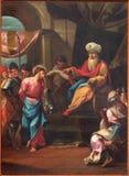 Padoue - la peinture de la scène Jésus pour Pilate dans la cathédrale d'église de Santa Maria Assunta (Duomo) de 18 cent Images stock