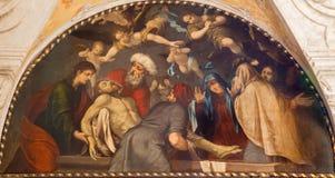 Padoue - peinture de l'enterrement de la scène de Jésus dans l'église Chiesa di San Gaetano Images stock