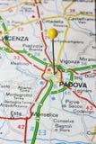 Padova приколол на карте Италии Стоковое фото RF