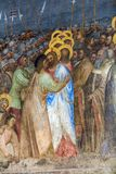 Padova - il bacio di Giuda degli affreschi in battistero del duomo o della cattedrale di Santa Maria Assunta da Giusto de Menabuo fotografia stock