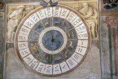 Palazzo della Ragione. At Padova - Italy - On october 2018 - detail of vast frescoes cycle decorating the Sala or main hall of Padua`s Palazzo della Ragione the stock photos