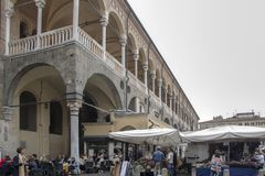 Palazzo della Ragione. At Padova - Italy - On october 2018 - Palazzo della Ragione, the medieval Palace of Justice of Padova, located between two piazze: Piazza stock photography