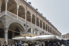 Palazzo della Ragione. At Padova - Italy - On october 2018 - Palazzo della Ragione, the medieval Palace of Justice of Padova, located between two piazze: Piazza stock images