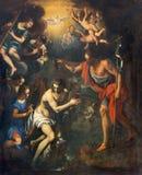Padova la pittura del battesimo della scena di Cristo in vecchio di San Benedetto della chiesa (San Benedetto) a partire dallo XV fotografia stock libera da diritti