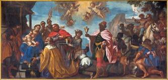 Padova - la pittura dell'adorazione della scena del Re Magi in cattedrale di Santa Maria Assunta (duomo) Fotografie Stock Libere da Diritti