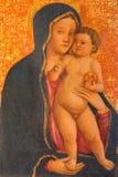 Padova - la pittura sul legno di Madonna in cattedrale di Santa Maria Assunta (duomo) da Francesco Squarcione Immagini Stock Libere da Diritti