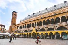 Padova Palazzo della Ragione Piazza della Frutta. Palazzo della Ragione from crowded Piazza della Frutta in Padova, Italy 24 April 2017 stock photography