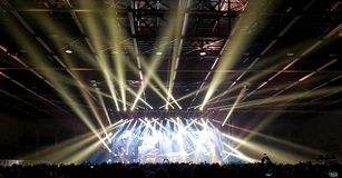Padova, PD, Italy - October 20, 2017: Live Concert indoor of Luciano Ligabue an Italian singer. Padova, PD, Italy - October 20, 2017: Live Concert indoor of stock photography