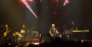 Padova, PD, Italy - October 20, 2017: Live Concert indoor of Luciano Ligabue an Italian singer. Padova, PD, Italy - October 20, 2017: Live Concert indoor of royalty free stock photography