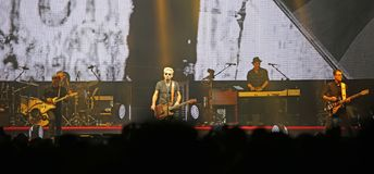 Padova, Italy - October 20, 2017: Live Concert indoor of Luciano. Padova, PD, Italy - October 20, 2017: Live Concert indoor of Luciano Ligabue an Italian pop and stock images