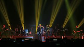 Padova, PD, Italy - October 20, 2017: Live Concert indoor of Luciano Ligabue an Italian singer. Padova, PD, Italy - October 20, 2017: Live Concert indoor of royalty free stock photos