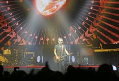 Padova, PD, Italy - October 20, 2017: Live Concert indoor of Luciano Ligabue an Italian rock singer with his band - editorial use. Padova, PD, Italy - October 20 royalty free stock photo
