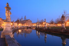 Padova at twilight. Twilight view of market square Prato della valle and canal of Padova, Italy Stock Photo
