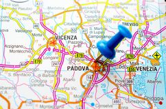 Padova Vicenza and Venice on map. Padova Vicenza and Venezia on map with push pin royalty free stock photography