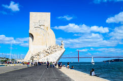 Padrão dos Descobrimentos or Discoveries Monument Lisbon. Overlooking the Tagus River, this memorial is a tribute to the Portuguese discoverers such as Henry Royalty Free Stock Photography