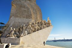 Monument to the Discoveries in Belem area of Lisbon, Portugal. Stock Photos