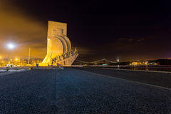 Padrao dos Descobrimentos, Lisbon, Portugal, at night Royalty Free Stock Photography
