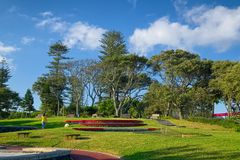 Padre福纳多Gomes庭院, Ponta Delgada市,圣地米格尔海岛,亚速尔群岛 库存照片