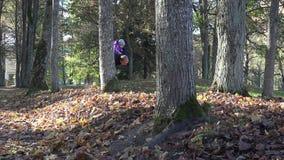 Padre activo con el bebé en funcionamiento de los hombros entre los árboles del otoño y las hojas 4K almacen de video