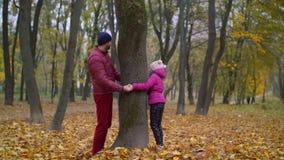 Padre alegre y niño que juegan escondite en otoño almacen de video