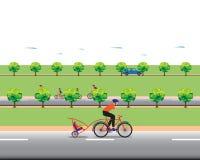 Padre biking con el pequeño hijo Foto de archivo