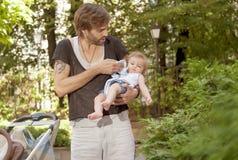 Padre Care Baby Imagen de archivo libre de regalías