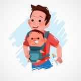 Padre che porta piccolo bambino Progettazione di carattere concetto eccellente del papà Immagine Stock Libera da Diritti