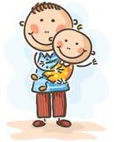 Padre che tiene il suo bambino-figlio Immagini Stock Libere da Diritti