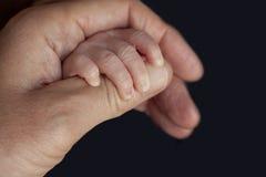 Padre che tiene una mano del neonato nel suo Primo piano della mano del bambino nelle mani del genitore insieme immagine stock