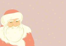 Padre Christmas con i fiocchi di neve dorati sul backgro Immagine Stock