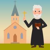 Padre com cruz e Bíblia e igreja Fotografia de Stock Royalty Free