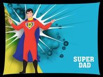 Padre como superhéroe en fondo retro del estallido-arte, con el texto Su stock de ilustración