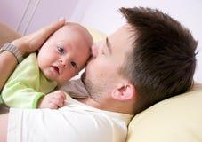 Padre con appena nato Fotografia Stock