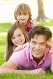 Padre con con los niños al aire libre Imagen de archivo libre de regalías