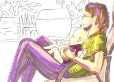Padre con el bebé, retrato pintado a mano del marcador en colores suaves en fondo de la silueta libre illustration