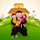 Padre con i bambini per la celebrazione di festa del papà illustrazione vettoriale