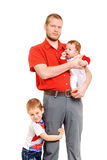 Padre con i due figli Fotografia Stock