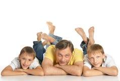Padre con i figli Fotografie Stock